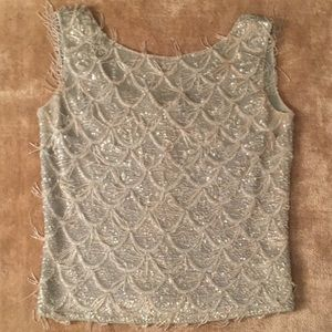 Tops - Vintage MOD Authentic Silver Beaded Shell 50's